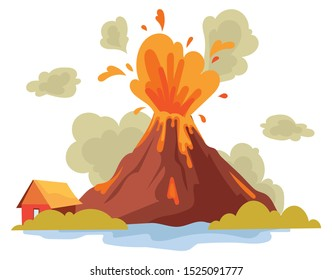 Eruption of a volcano on the island. The release of hot magma earth.Natural disaster. Color illustration for the children.