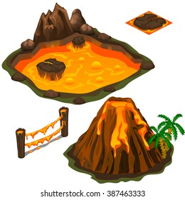 The eruption of a volcano on a tropical island isolated on a white background. A pool of volcanic lava. Cartoon vector close-up illustration.
