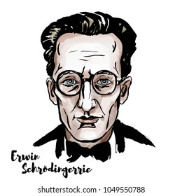 Erwin Schroedinger watercolor vector portrait with ink contours.