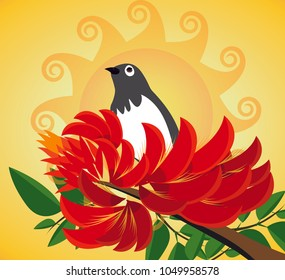 Erythrina variegata flowers and asian koel vector illustration. The dawn of the Sinhala & Tamil New Year vector.