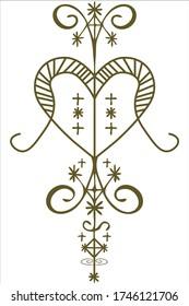 Erzulie Freda Voodoo Loa of Love veve or sign. Oshun Orisha symbol.