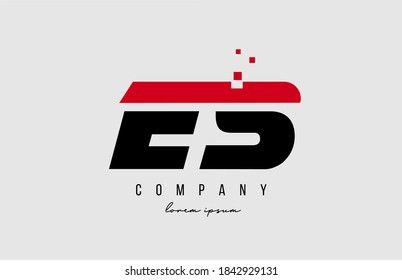 es e s alphabet letter logo combination in red and black color. Creative icon design for business and company