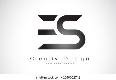 ES E S Letter Logo Design in Black Colors. Creative Modern Letters Vector Icon Logo Illustration.