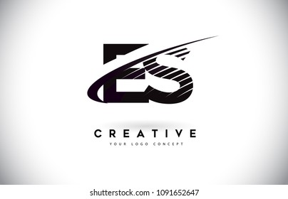 ES E S Letter Logo Design with Swoosh and Black Lines. Modern Creative zebra lines Letters Vector Logo