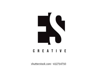 ES E S White Letter Logo Design with Black Square Vector Illustration Template.