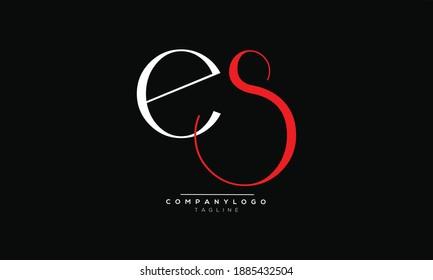ES icon monogram letter text alphabet logo design