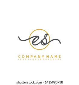 ES Initial handwriting logo concept - Shutterstock ID 1415990738