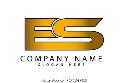 ES initial Letter Logo Design in gold gradient Color. Creative Modern Letters Vector Icon Logo Illustration design.