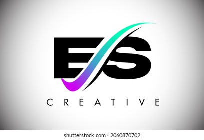 ES Letter Logo with Creative Swoosh Curved Line. ES Icon Vector with Bold Font and Vibrant Colors Illustration.
