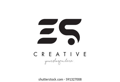 ES Letter Logo Design with Creative Modern Trendy Typography and Black Colors.
