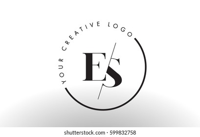ES Letter Logo Design with Creative Intersected and Cutted Serif Font.