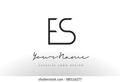 ES Letters Logo Design Slim. Simple and Creative Black Letter Concept Illustration.
