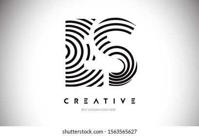 ES Lines Warp Logo Design.Vector Letter Icon Made with Circular Lines.