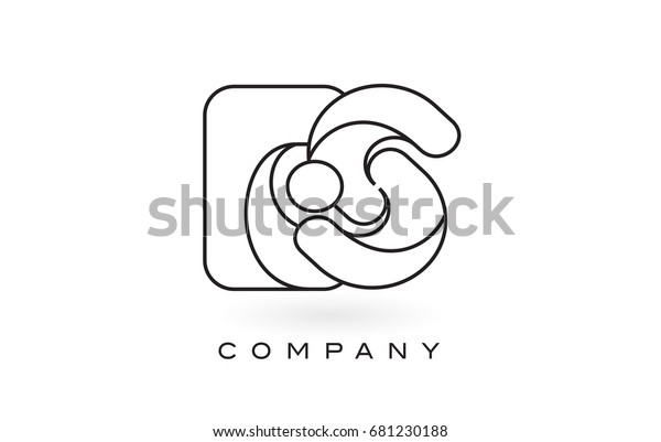Es Monogram Letter Logo Thin Black Stock Vector Royalty Free 681230188