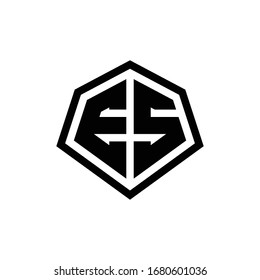 ES monogram logo with hexagon shape and line rounded style design template isolated on white background