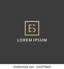 ES. Monogram of Two letters E & S. Luxury, simple, stylish and elegant ES logo design. Vector illustration template.