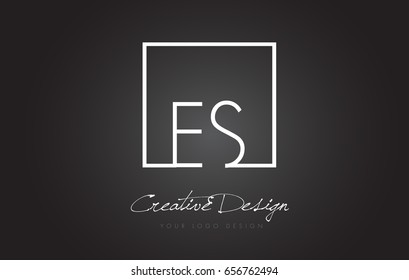 ES Square Framed Letter Logo Design Vector with Black and White Colors.