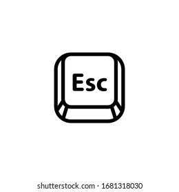 Esc (Escape) key icon. Keyboard button symbol, black and white outline drawing. Isolated vector illustration.