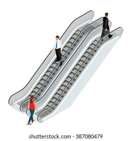 Escalator architecture stair, elevator. An escalator vertical transportation in the form of a moving staircase. Transport device for carrying people between floors of a building.