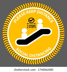 Escalator Coronavirus warning icon symbol to keep the distance. Preventing the outbreak covid19 to maintain physical distance. New normal practice social distancing sign. Vector image picture.