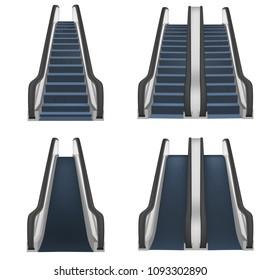 Escalator elevator stairs lift mockup set. Realistic illustration of 4 escalator elevator stairs lift mockups for web