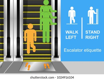 Escalator etiquette quick quicker handrail motion direction situation machine life shopping mall train moving improper courtesy proper