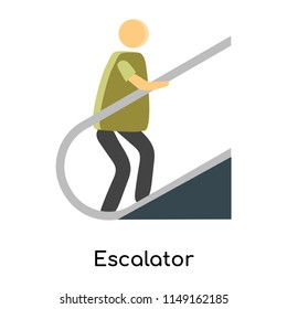 Escalator icon vector isolated on white background for your web and mobile app design, Escalator logo concept person