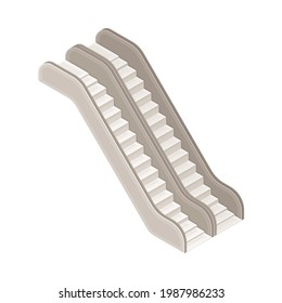 Escalator or Moving Staircase in Metro or Subway as Rapid Transit Urban System Isometric Vector Illustration