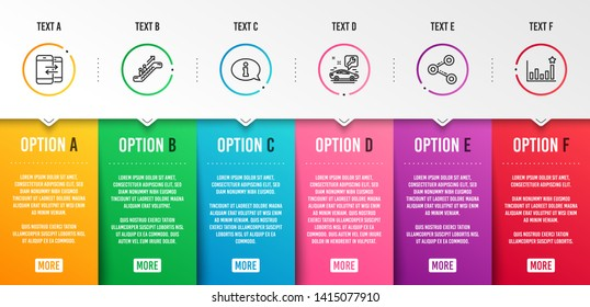 Escalator, Phone communication and Car service icons simple set. Information, Share and Efficacy signs. Elevator, Incoming and outgoing calls. Business set. Infographic template. 6 steps timeline