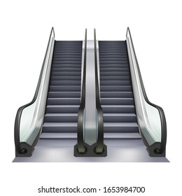 Escalator Two Way Direction Electric Device Vector. Speed Stairway Escalator Subway Tool For Transportation Human In Underground. Moving Ramp Stairs Concept Layout Realistic 3d Illustration