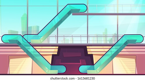 Escalators in mall. Elevators with glass railings side view in modern shopping center with huge windows and cityscape. Empty multistorey store hall with closed boutiques. Cartoon vector illustration