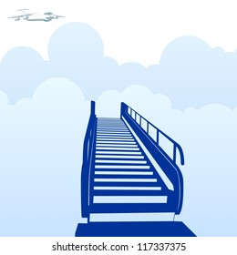 Escalators in the sky. In the sky, flying commercial aircraft.