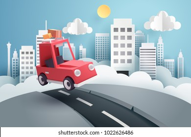 Escape from the city, Paper art of red car jumping on mound with the city at back, origami and travel concept, vector art and illustration.