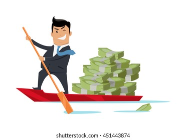 Escape with money concept vector. Flat design. Success. Financial crime, tax evasion, money laundering, political corruption illustration. Smiling man in business suit sailing away on boat with money.