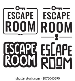 Escape room. Badges, icons, stamps set. Vector illustrations on white background.