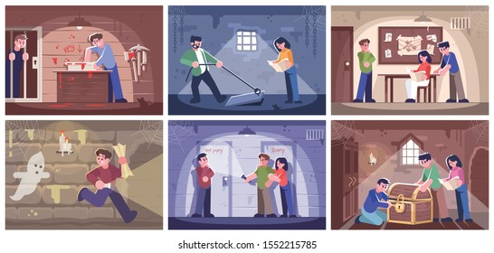 Escape room flat vector illustrations set. People trying to solve puzzles cartoon characters. Friends getting out of trap, finding conundrum solution. Quest room game. Modern entertainment