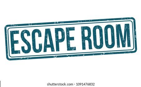 Escape room grunge rubber stamp on white background, vector illustration