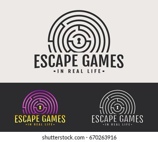 Escape room logo. Vector badge for quest game in real life. White, black and colored variants.