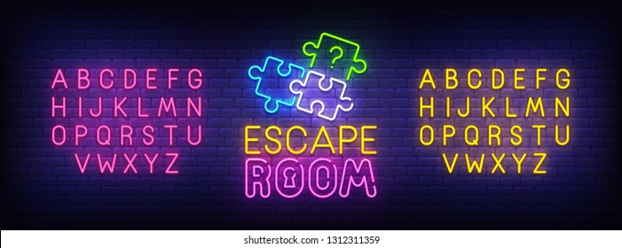 Escape Room neon sign, bright signboard, light banner. Quest Room logo, emblem and label. Neon sign creator. Neon text edit