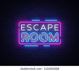 Escape Room neon signs vector. Escape Room Design template neon sign, light banner, neon signboard, nightly bright advertising, light inscription. Vector illustration