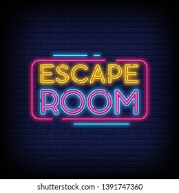 Escape Room neon signs vector with a Brick Wall Background Design template neon sign  light banner  neon signboard  nightly bright advertising  light inscription. Vector