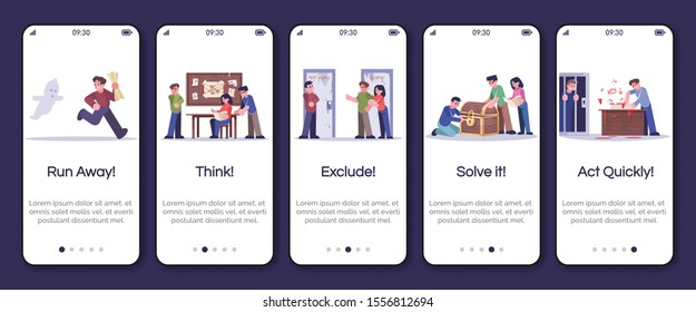 Escape room onboarding mobile app screen vector template. Run away, think, exclude, solve it, act quickly. Walkthrough website steps with flat characters. UX, GUI smartphone cartoon interface concept