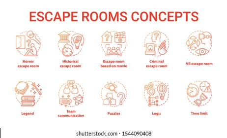 Escape room red gradient concept icons set. Quest types idea thin line illustration. Strategy logical game collection. Puzzles and riddles solving pack. Vector isolated outline drawing