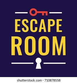 Escape room. Vector logo, badge illustration on dark background.