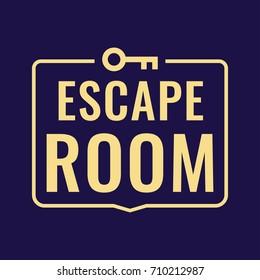 Escape room. Vector logo, icon, badge illustration on dark background.