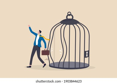 Escape from routine comfort zone, change to experience new challenge or break free for freedom concept, strong ambitious businessman bended the bar and escape from bird cage trap.