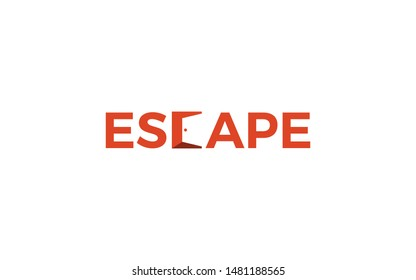 Escape word mark logo forms the negative space of an open door on the letter C