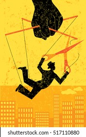 Escaping a controlling boss A businessman, portrayed as a puppet on a string, cuts himself away from manipulative control to gain his freedom.