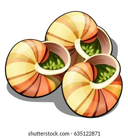 Escargot, a delicious French dish of snails isolated on white background. Vector cartoon close-up illustration.