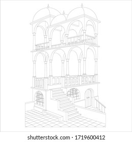 Escher Belvedere, vector. Plausible looking belvedere building that is an impossible object.  Two dimensional images to depict objects free of the confines of the three-dimensional world.